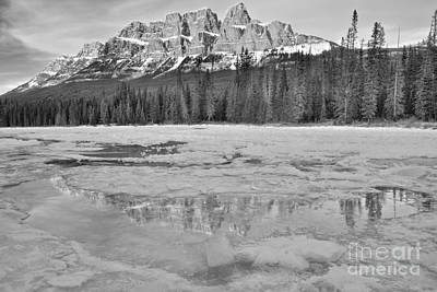 Photograph - Castle Mountain Winter Paradise Reflections Black And White by Adam Jewell