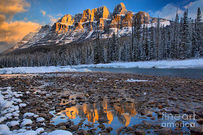 Photograph - Castle Mountain Winter Sunrise by Adam Jewell