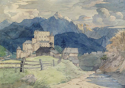 Drawing - Castle Naudersberg In Tyrol by Ernst Ferdinand Oehme