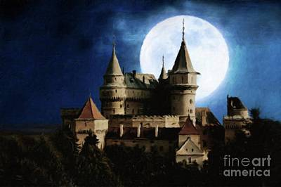 Santas Reindeers Royalty Free Images - Castle of the Moon by Sarah Kirk Royalty-Free Image by Esoterica Art Agency