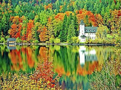 Digital Art - Castle On The Lake, Lake District, Salzburg, Austria by Joseph Hendrix