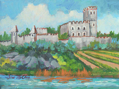 Art Print featuring the painting Castle On The Upper Rhine River by Diane McClary