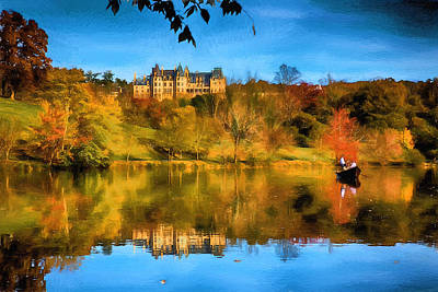 Digital Art - Castle Reflections Of Fall by John Haldane