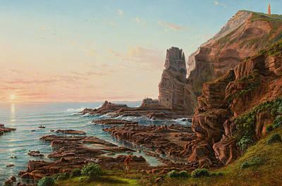 Australian Landscape Painting - Castle Rock, Cape Schanck by Eugene von Guerard