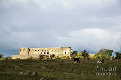 Art Print featuring the photograph Castle Ruin In Spotlight by Kennerth and Birgitta Kullman