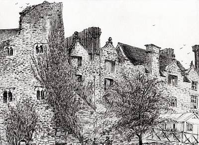 Pen And Ink Historic Buildings Drawings Drawing - Castle Ruins At Hay On Wye by Vincent Alexander Booth