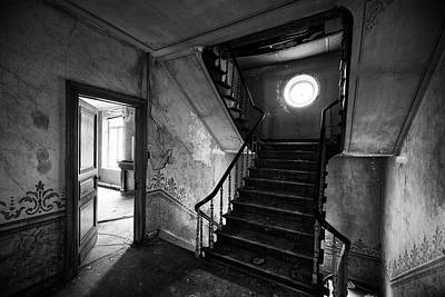 Haunted House Photograph - Castle Stairs - Abandoned Building Bw by Dirk Ercken