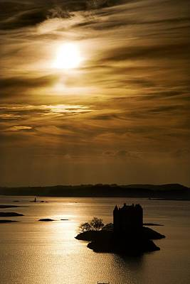 Fantasy Royalty-Free and Rights-Managed Images - Castle Stalker At Sunset, Loch Laich by John Short