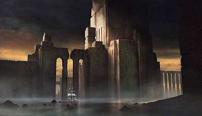 Looming Digital Art - Castle Sunset by Jeff Brown