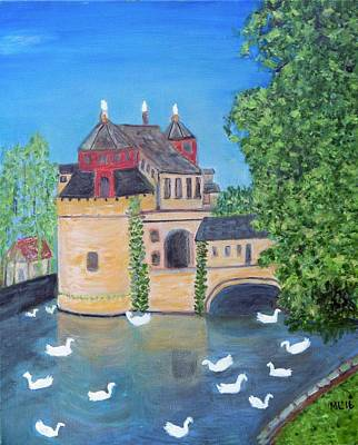 Painting - Castle Swans by Mary LaFever