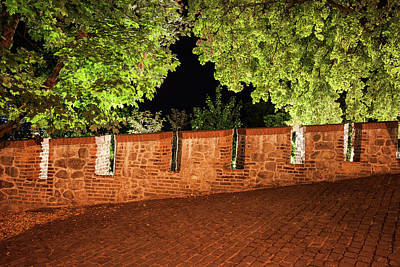 Photograph - Castle Wall Battlement And Trees At Night by Artur Bogacki