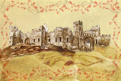 Knight Mixed Media - Castle Ward Vintage by Angeles M Pomata