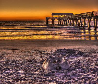 Best Ocean Photograph - Castles In The Sand 2 Tybee Island Pier Sunrise by Reid Callaway
