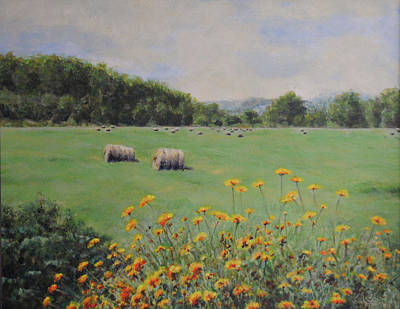 Haybales Painting - Castleton by Cynthia Satton