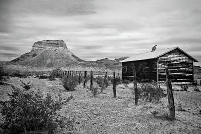 Photograph - Castolon - A Ghost Town 2 Black And White by Judy Vincent
