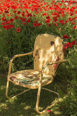 Photograph - Castro Poppies And Old Yellow Chair by Teresa Wilson