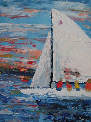 Scow Painting - Casual Sailing On Wawasee by Ann Szeplaki
