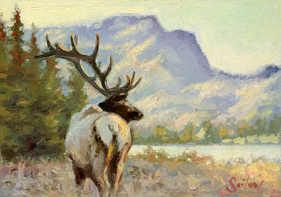 Painting - Casual Walk Elk by Larry Seiler