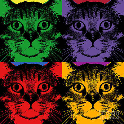 Coon Cat Digital Art - Cat 4 Panels Warhol Style by Jean luc Comperat