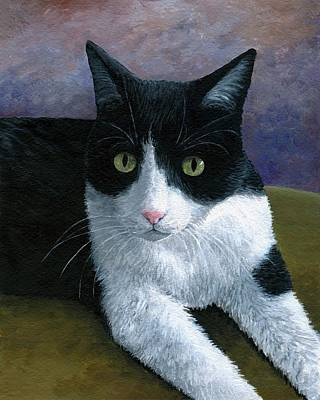 Cat Painting - Cat 577 Tuxedo by Lucie Dumas