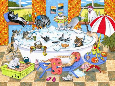 Swim Party Painting - Cat 601 by Lucie Dumas