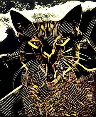 Cabochon Digital Art - Cat Abstract By Artful Oasis 1 by Artful Oasis