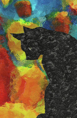 Bobcat Painting - Cat Abstract by Jack Zulli