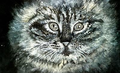 Tempera Mixed Media - Cat by Adedeji Olufemi