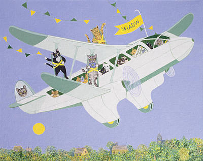 Funny Cat Painting - Cat Air Show by Pat Scott