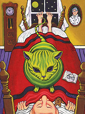 Tabby Cat Painting - Cat - Alien Abduction by Rebecca Korpita