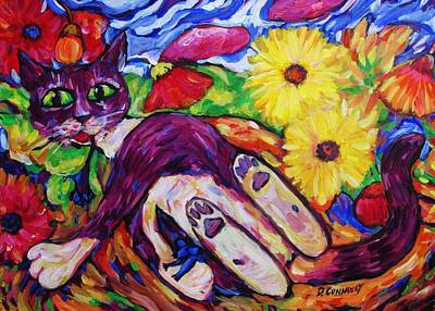Painting - Cat Among Daisy Petals by Dianne  Connolly