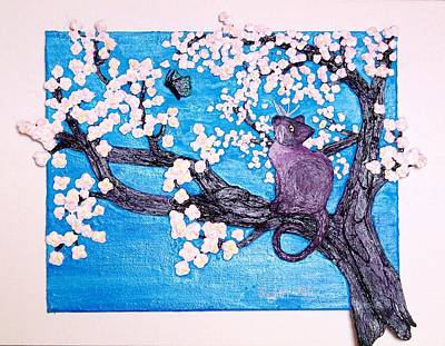 Cat Among The Cherry Blossoms Original by Sarah Swift