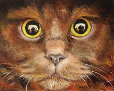 Red-headed Cat Original by Ana Ninashvili