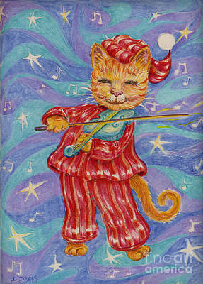 Art Print featuring the drawing Cat And A Fiddle by Dee Davis