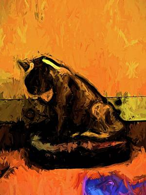 Digital Art - Cat And A Gold Wall by Jackie VanO