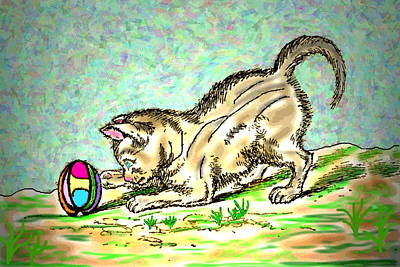 Digital Art - Cat And Ball by Joyce Dickens