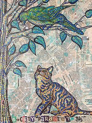 Cat And Bird Painting Mixed Media Pastel Tone Artwork Eco Art Original by Heather Freitas