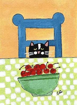 Painting - Cat And Bowl Of Cherries by Christine Quimby