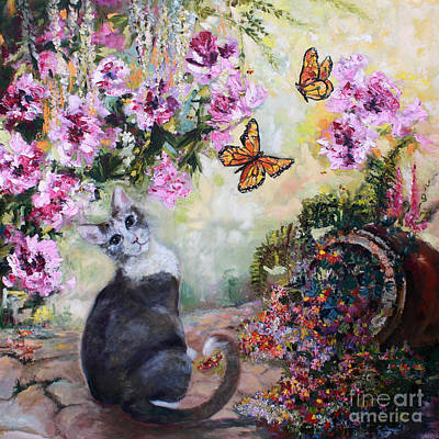 Painting - Cat And Butterflies In Cottage Garden by Ginette Callaway