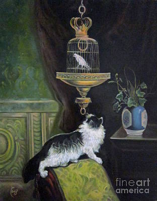 Cage Painting - Cat And Canary Cage by Farideh Haghshenas