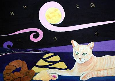 Sea Moon Full Moon Painting - Cat And Conch by Martine Murphy