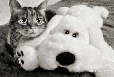 Andee Design White Photograph - Cat And Dog In B W by Andee Design
