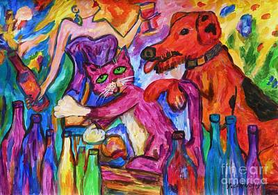 Painting - Cat And Dog Party Down by Dianne  Connolly