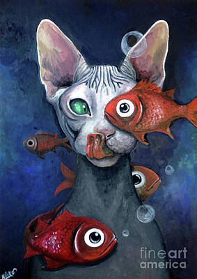 Sphynx Cat Painting - Cat And Fish by Akiko Okabe