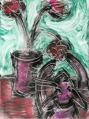 Printmaking Mixed Media - Cat And Flowerpot II by Sheryl Karas