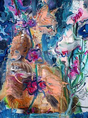 Painting - Cat And Flowers by Fabrizio Cassetta