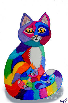 Animals Drawings - Cat and Kittens 2 by Nick Gustafson