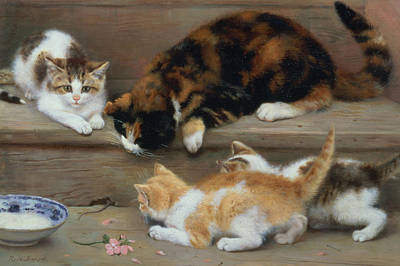 Cat And Kittens Chasing A Mouse   Art Print by Rosa Jameson