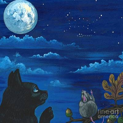 Cat And Mouse Constellation Art Print
