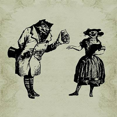 Sepia Ink Digital Art - Cat And Mouse Grandville by Barbara St Jean